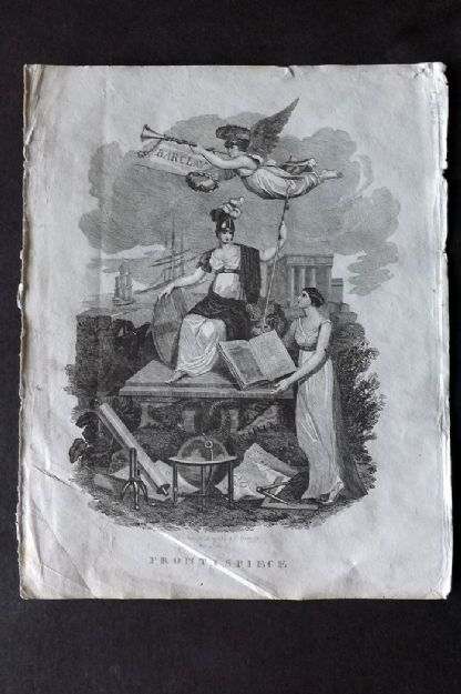 Barclay 1812 Antique Print. Classical Frontispiece, Britannia, Globes